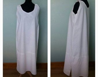French simple style linen metis antique cotton mix nightdress chemise petticoat vintage under dress good condition Small UK 8 - 10 US 4 - 6