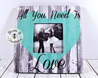 ON SALE Personalized Song Lyric Picture Frame, All You Need Is Love, Beetles Song Lyric Frame, Anniversary Gift, Valentine's Day Gift
