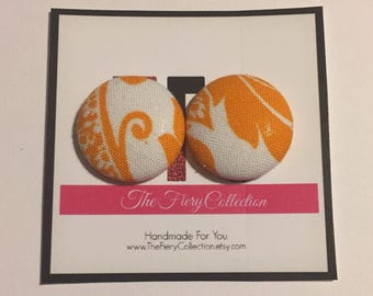 Orange & White Button Earrings