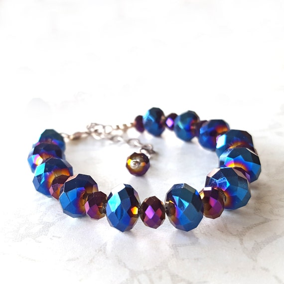 blue and purple sparkly beaded bracelet adjustable sterling
