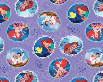 Disney The Little Mermaid Fairy Tale Ending Fabric - Lilac (sold by the 1/2 yard)