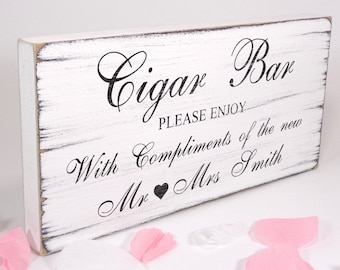 Personalised Cigar Bar Sign - White - Custom Free Standing White Vintage Wedding Table Sign / Plaque - Shabby but Chic  -Aged - Handmade