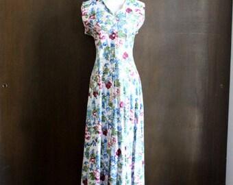 vintage floral button down dress / day dress, back tie, maxi midi dress, 80s 90s floral