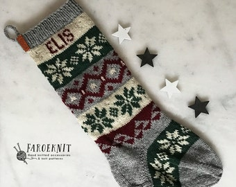 Personalized Christmas Stocking, Hand knit Christmas Stocking, Nordic Night, Nordic Fair Isle Stocking, leather tag, holiday stocking