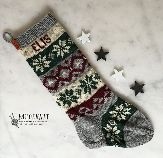 Personalized Christmas Stocking Hand knit Christmas Stocking