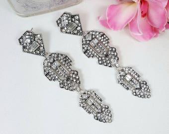 Long Art Deco Earrings, Great Gatsby Wedding, Vintage Crystal Earrings, Crystal Bridal Earrings, Chandelier Earrings, 1920s Deco Jewelry
