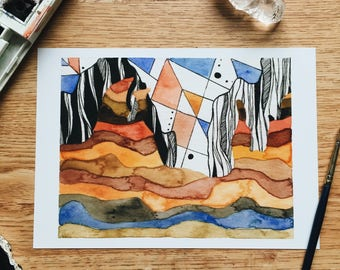 Echo - Geo Collection - Original Watercolor Painting - PRINT - 5x7
