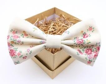 Cream and Pink Floral Bow Tie - Mens Pre-Tied Bow Tie - Womens Pre-Tied Bow Tie - Vintage Bow Tie - Southern Wedding Bow Tie