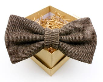 Brown and Black Bow Tie - Mens Pre-Tied Bow Tie - Womens Bow Tie - Upcycled Bow Tie - Classic Solid Bow Tie - Groomsmen Gifts