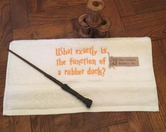 Harry Potter Inspired 100% Cotton Large Hand Towel White Embroidered Mr Weasley What Exactly is the Function of a Rubber Duck Towel