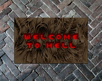 """DOOM """"Welcome to Hell"""", 20"""" x 32"""" Doormat Floormat"""