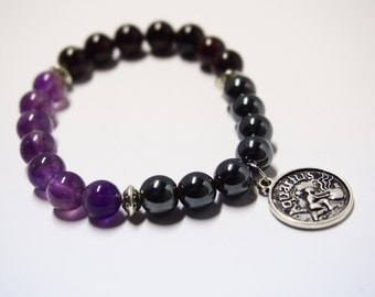 Aquarius Bracelet with Amethyst, Hematite & Garnet  Gemstones/Astrology Jewelry