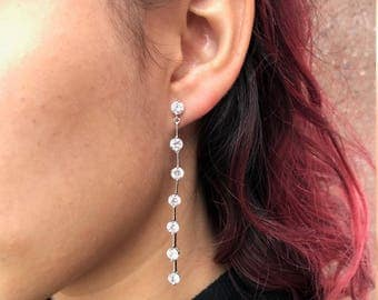 Crystal Long Drop Earrings