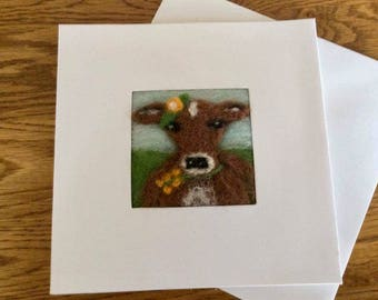 Jersey Cow needle felt greetings card. Needle felted picture on a linen panel in a blank card for your own message
