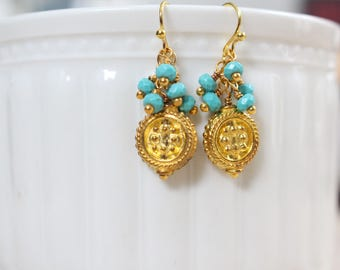 gold coin earrings - turquoise and gold earrings