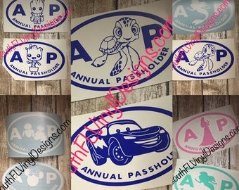 Disney Car Decals - AP Annual Passholder *inspired by Disney*