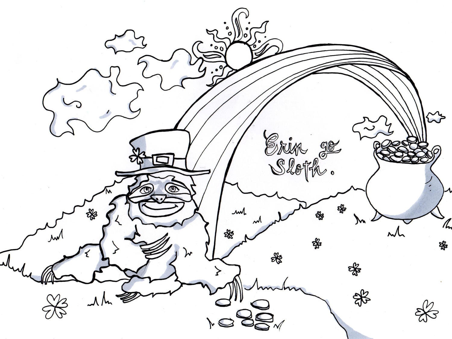 Co coloring book page leprechaun - St Patrick S Day Coloring Sloth Coloring Adult Coloring Kids Coloring Page Leprechaun Shamrock Four Leaf Clover Coloring Pot Of Gold