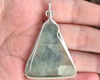 Drusy prehnite pendant, Wire wrapped pendant, Sterling silver, Prehnite necklace, Prehnite jewelry, Prehnite and epidote cabochon