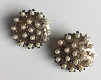 Vintage Floral Faux Pearl Earrings
