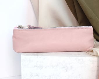 Pink Leather Pencil Case // Back To School // Pencil Pouch Gift // Leatehr Pen Case // Leather Case // Gift For Her // Pencil Pouch