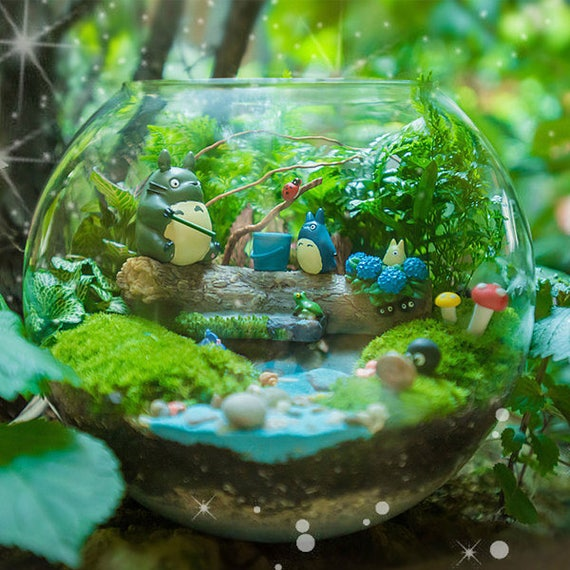 airy Garden Miniature Two Totoro Sitting on Tree StumpSucculent Terrarium Accessories DIY