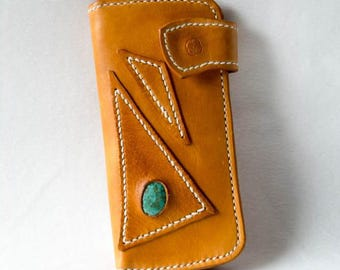 Leather long wallet - turquoise