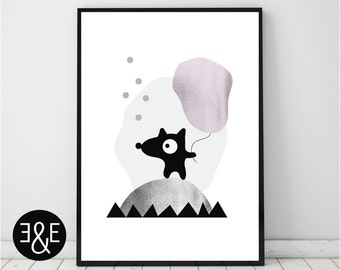 Nursery print, Kids wall art, Modern nursery art, Kids poster, Kids print, Childrens poster, Childrens art, Nursery poster, Pink and black
