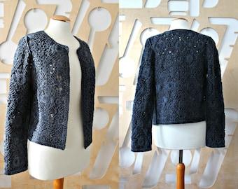 Designer jacket Cropped jacket Edwardian Victorian Gothic clothing Grunge Punk Steampunk Shrug Bolero Denim jacket Lace Boho