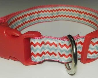 Adjustable Rayado Dog Collar - Pink