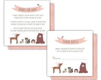 Woodland Friends Books for Baby Card --- Instant Download --- Coral Rose --- #B330-BBC2-DRC2-D