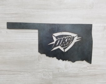 OKC Thunder Logo In the State of Oklahoma (Home Decor, Basketball, Sports, Wall Art, Metal Art)