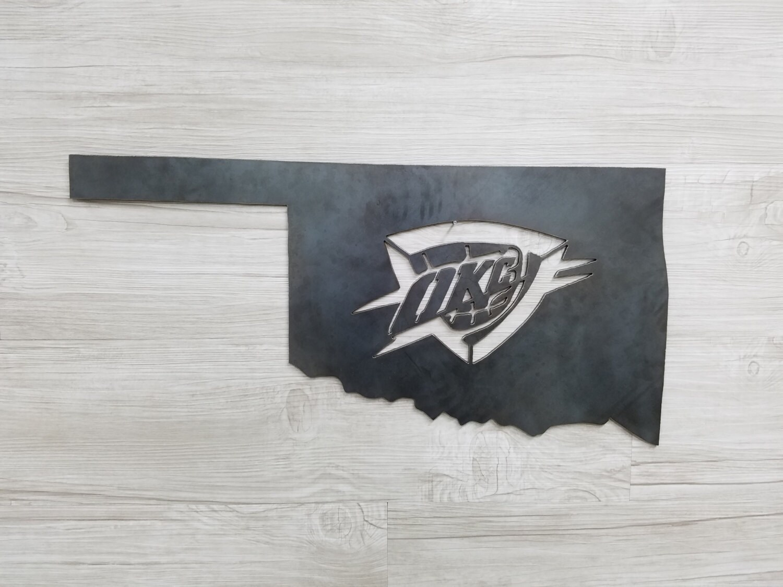 OKC Thunder Logo In The State Of Oklahoma Home Decor