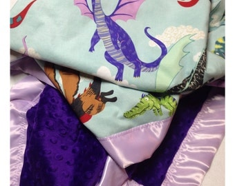 Dragon baby blanket, receiving blanket, swaddler, security blanket, minky blanket, castle baby blanket, dragon bedding