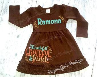 Thanksgiving dress, Fall dress, Customized Thanksgiving dress, Thankful and kind dress, girls thanksgiving dress, toddler thanksgiving dress