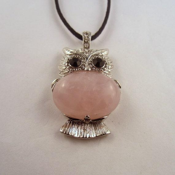 Owl Pendant Necklace Rose Quartz  Natural Crystal Pendant, Stone Jewelry