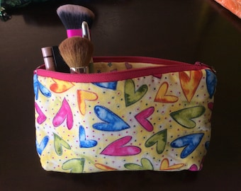 Quilted Cosmetic Bag -Hearts
