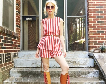 Vintage 60s Red White Candy Striped Sleevless Tank Top + Elastic Waist Shorts Two Piece Set S/M