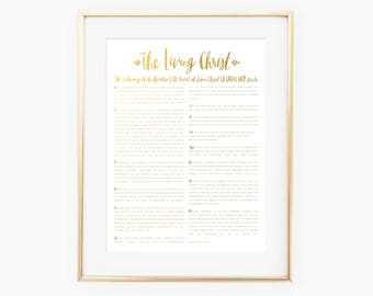 The Living Christ - The Testimony of the Apostles, The Church of Jesus Christ of Latter-day Saints - gold foil print - LDS