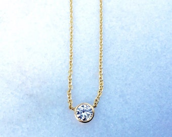 RESERVED FOR VINCE -- 14 K Yellow Gold 0.40 carat Minimalist Soliatire Bezel Set Round Brilliant Diamond Chain Necklace