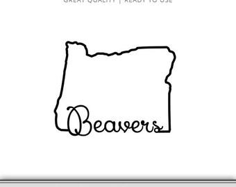 Oregon State Beavers State Outline Graphic - Cut Files Included - Oregon DXF - Oregon SVG - Digital Download - Oregon Ducks SVG!