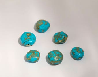 Faux stone, imitation gemstone jewelry polymer clay blue and light blue
