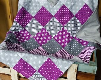 Purple and Grey Polka-Dot/Chevron Minky Baby Blanket