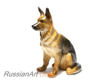 German shepherd dog porcelain figurine handmade statuette