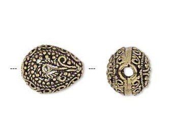 Gold Teardrop, Antiqued Filigree Teardrop, 16x13mm, 2 each, D771