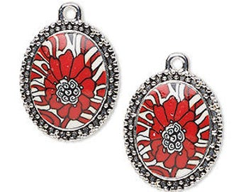 Red Drop, Red Flower, Silver Beaded Frame, 24x20mm, 2 each, D996
