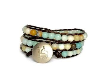 Amazonite Bead Bracelet - Gemstone Wrap Bracelet - Horse Lover Bracelet - Triple Wrap Bracelet - Beaded Wrap Bracelet