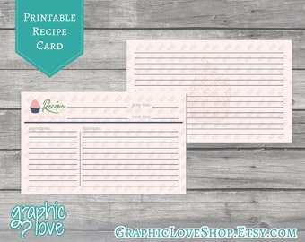 Printable 3x5 Double Sided Cupcake Recipe Card | Digital JPG Files, Instant Dowload