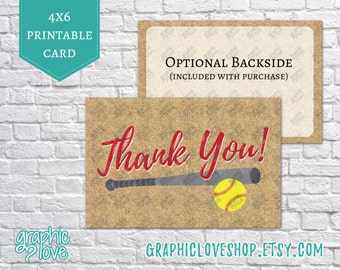 Printable Fastpitch Softball Thank You Post Card | 4x6 JPG Files, Instant Download