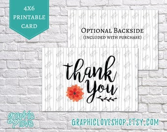 Black and White Flower Thank You Cards | Customer Appreciation, Small Shop, Business, Thanks | 4x6 JPG, Instant Download, Printable, DIY