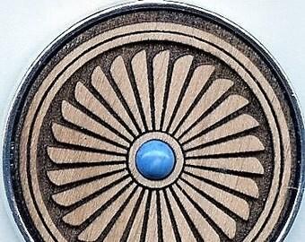 Mimbres Earthwood Pendant w/ Turquoise